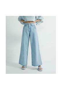 Calça Pantalona Jeans Lisa Com Bolsos E Detalhe Tableado