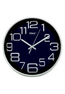 Relógio De Parede Redondo Sortido - 27Cm - Números Grandes Azul