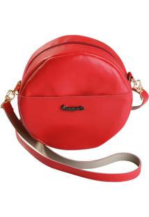 Bolsa Vermelha Redonda Com Zíper E Alça