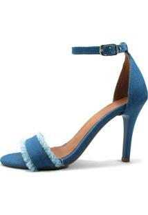 Sandália Zhaceci Salto Alto Jeans Feminina - Feminino-Azul