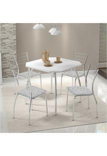 Mesa 1504 Branca Cromada Com 4 Cadeiras 1700 Fantasia Branco Carraro
