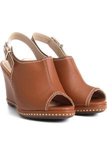 Sandal Boot Azaleia Anabela Com Aplicações Metalizadas - Feminino