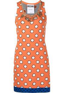 Moschino Vestido Com Poás E Aplicação De Logo - Laranja