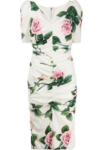 Dolce & Gabbana Vestido Franzido Com Estampa De Rosas - Branco