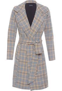 Casaco Feminino Trench Coat Xadrez - Preto