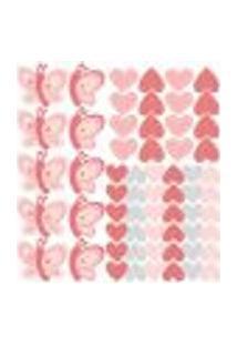 Adesivo De Parede Borboletas Coração Kit Extra Safari Menina