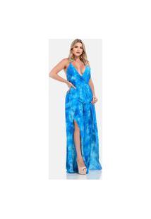 Macacão Longo Sig Estilo Tie Dye Céu Azul