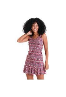 Vestido Com Babados Bali - Rosa - Líquido