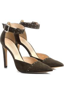 Scarpin Couro Shoestock Salto Alto Rebites - Feminino-Verde Escuro