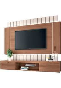 Painel Bancada Suspensa Para Tv Até 55 Pol. Illuna H01 Nature/Off Whit