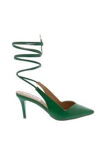 Scarpin Bebecê Salto Fino Com Amarração Verde