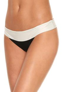 Calcinha Salinas Tanga Miracle Off-White/Preto