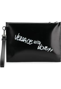 Versace Clutch De Couro 'Versace With Love' - Preto