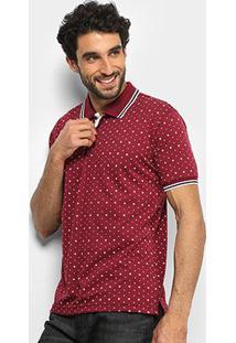 Camisa Polo Broken Rules Mini Print Frisos Masculina - Masculino-Vinho