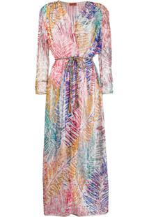 Missoni Mare Kimono Longo Com Estampa De Folhagem - Azul