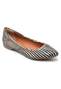 Sapatilha Feminina Estampada Zebra Bico Fino Casual Conforto Branco