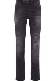 Calça Masculina Jeans Black Rasg Ski - Preto