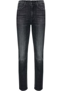 Mother Calça Jeans Slim Cintura Alta - Preto