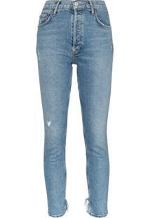 Agolde Calça Jeans Cropped Com Destroyed - Azul