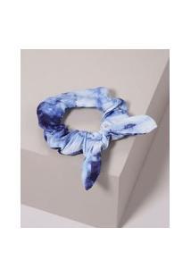 Elástico De Cabelo Scrunchie Estampado Tie Tye Com Laço Azul
