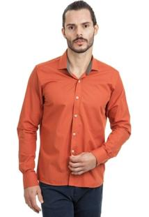 Camisa Di Sotti Microestampa Laranja - Masculino