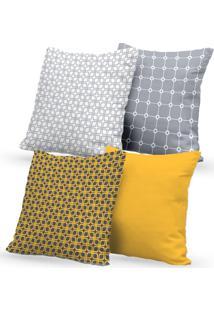 Kit 4 Capas De Almofadas Decorativas Own Amarelo E Cinza 45X45 - Somente Capa