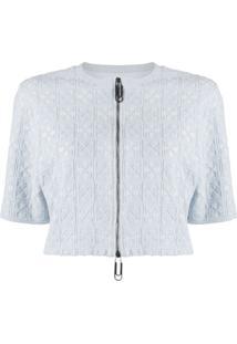 Off-White Blusa Cropped Com Bordado - Azul