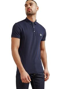 Polo Hugo Boss Masculina Orange Cotton Piqué Azul Marinho
