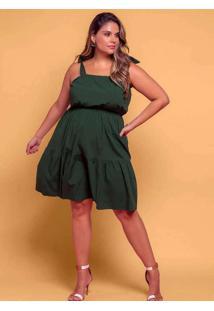 Vestido Almaria Plus Size Plump Curto Camadas Verd