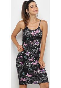 Vestido Colcci Fitness Curto Canelado Floral - Feminino-Preto+Rosa