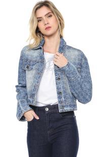 Jaqueta Jeans Cropped Lança Perfume Estampada Azul