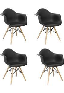 Kit 4 Cadeiras Facthus Charles Melbourne Com Base De Madeira Preto