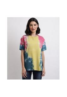 Blusa Feminina Estampada Tie Dye Manga Curta Decote Redondo Multicor