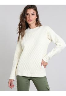 Suéter Feminino Em Tricô Geométrico Bege Claro