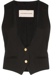 Alexandre Vauthier Collarless Button-Down Waistcoat - Preto