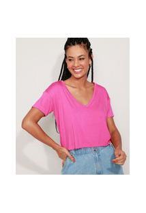 Camiseta Feminina Básica Cropped Manga Curta Decote V Pink