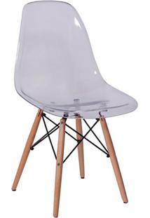 Cadeira Eames Base Madeira E Incolor