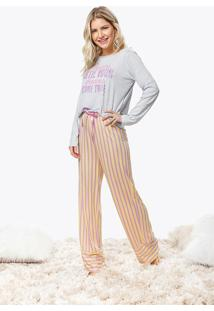 Pijama Longo Estampado Listras Malwee Liberta