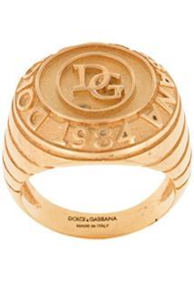 Dolce & Gabbana Anel Com Logo - Dourado