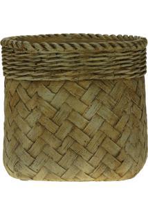 Vaso Decorativo De Cimento Trançado Palha Mesplé