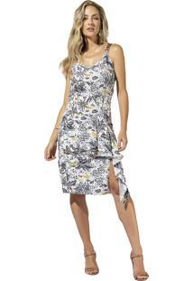 Vestido Anele Em Viscose Rayon Estampado Alto Verão Pérola