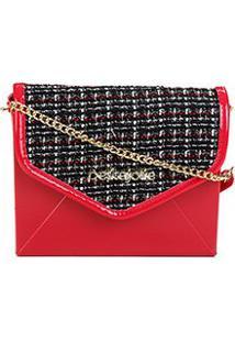 Bolsa Petite Jolie Mini Bag Hello Bag Feminina - Feminino-Vermelho+Preto