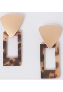 Brincos Com Pingentes Geométricosonça E Dourado