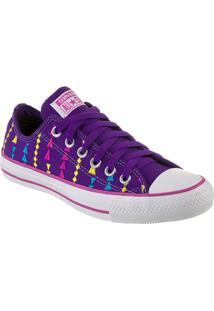 Tênis Feminino Converse All Star Ct As Embroidery Ox Lavanda/Violeta Floral Branco - Cto1650002