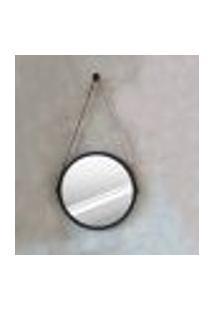 Espelho Modelo Adnet 40Cm Com Acabamento Preto E Alça Caramelo - Htadnet-40