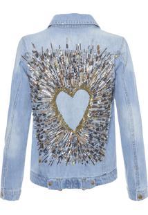 Jaqueta Feminina Coração Explosão - Azul