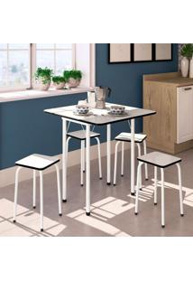 Conjunto De Mesa De Cozinha Dobrável Com 4 Lugares Asti Branco E Preto