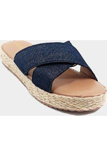 Tamanco Anabela - Tira Larga X - Jeans - Flatform Corda - Azul/Multicolorido - Feminino - Tecido - Dafiti