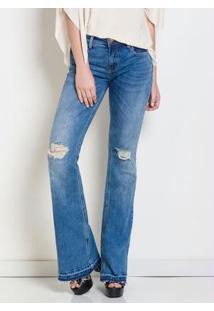 9802a5d67 ... Calça Jeans Flare Destroyed Forum