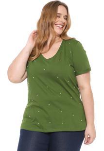 Blusa Cativa Plus Pérolas Verde